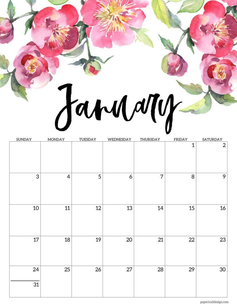 30 Minimalist January 2020 Calendars To Print