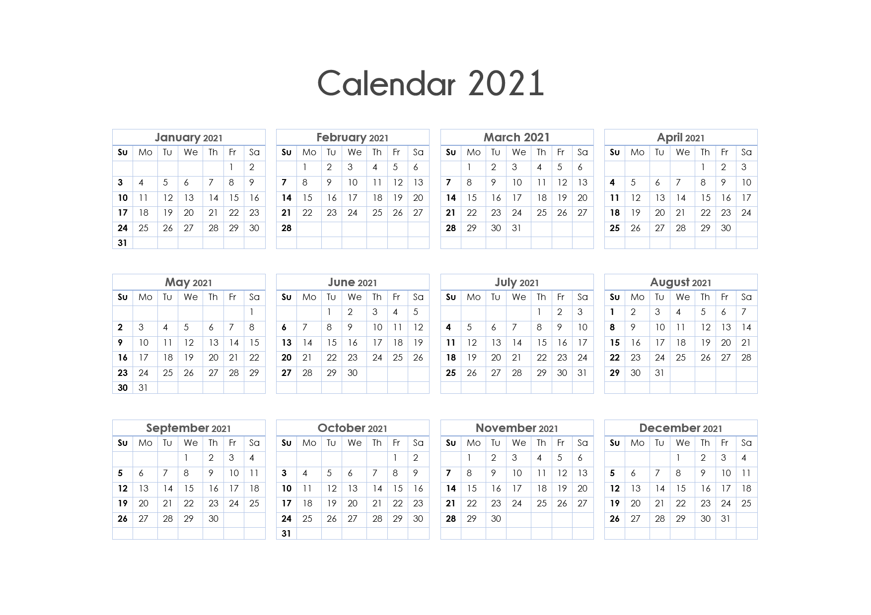 56+ Printable Calendar 2021 One Page, Us 2021 Calendar