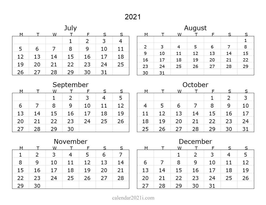 6 Months 2021 Half Year Printable Calendar | Calendar 2021