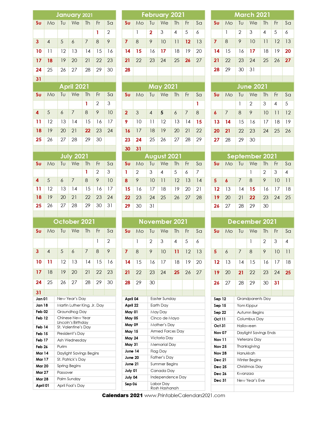 68+ Printable 2021 Yearly Calendar With Holidays, Portrait