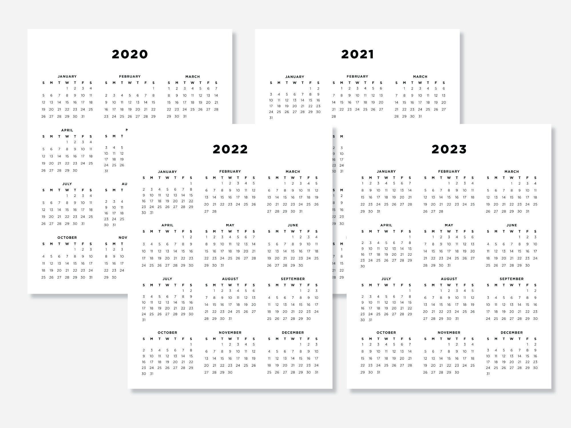 8.5X11 Calendars 2020 2021 2022 2023 Calendar Planners