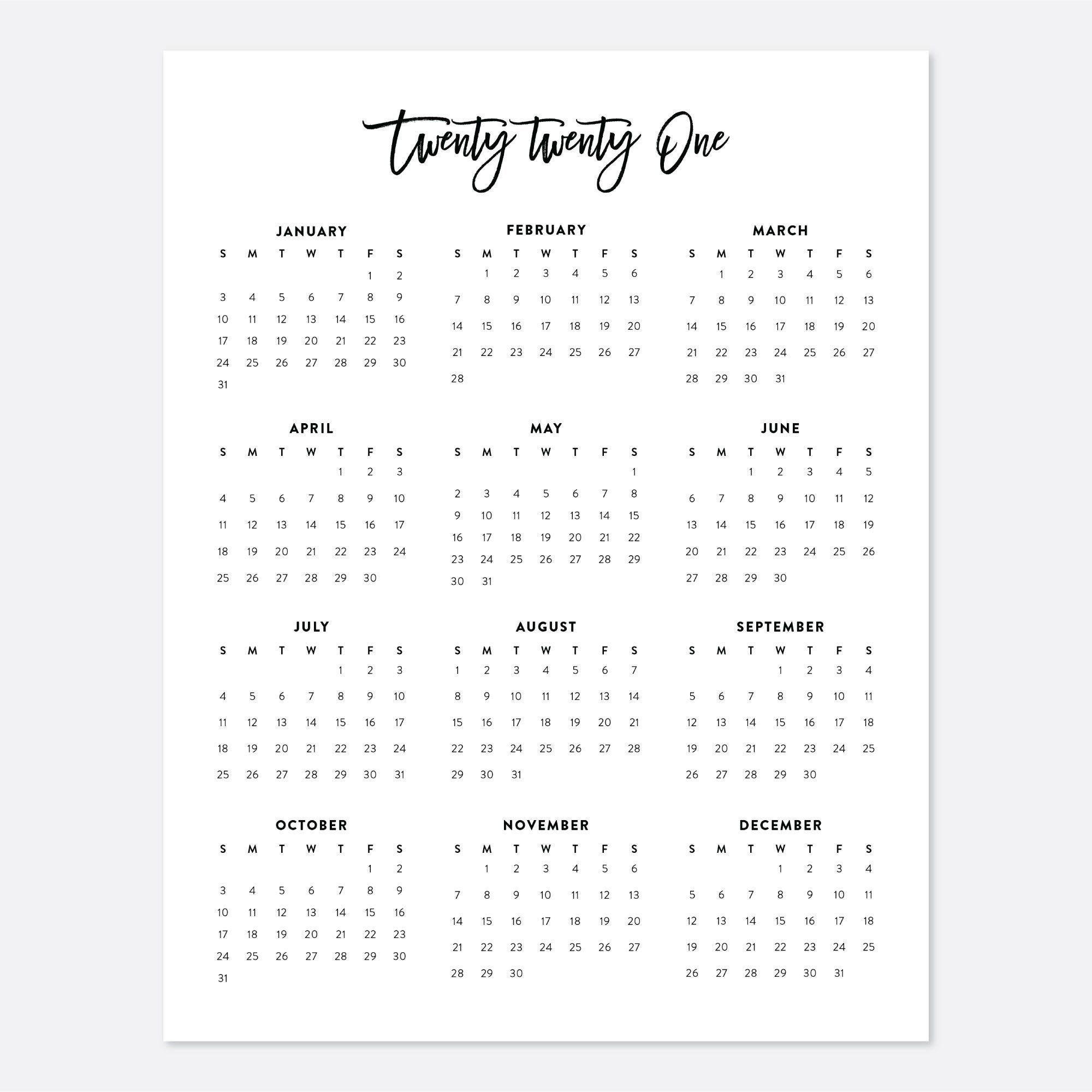 8.5X11 Printable Calendar 2021, Letter Calendar, 2021 Year