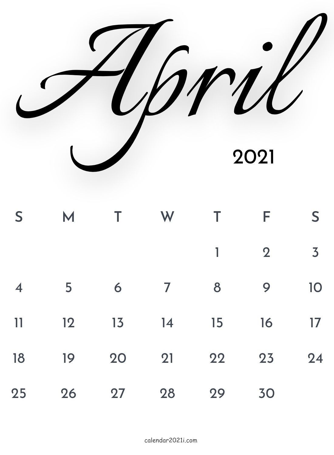 April 2021 Calligraphy Calendar Free Download In 2020 | Free