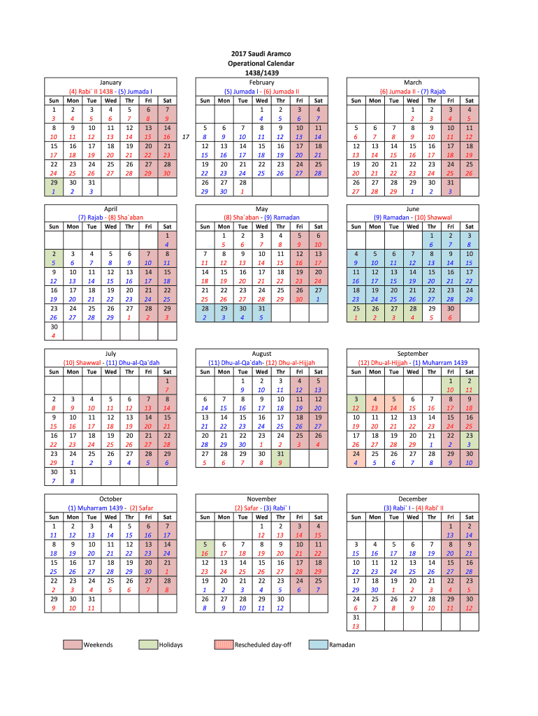 Aramco Operational Calendar 2020 - Fill Out And Sign Printable Pdf Template  | Signnow