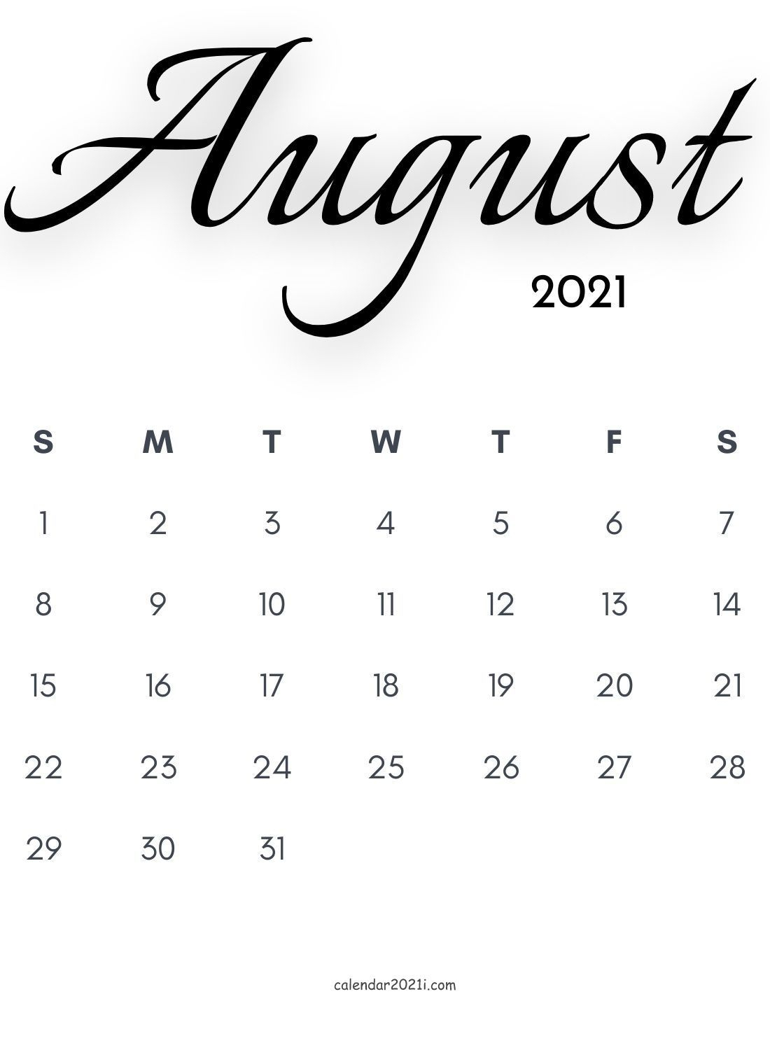 August 2021 Calligraphy Calendar Free Download | Calligraphy