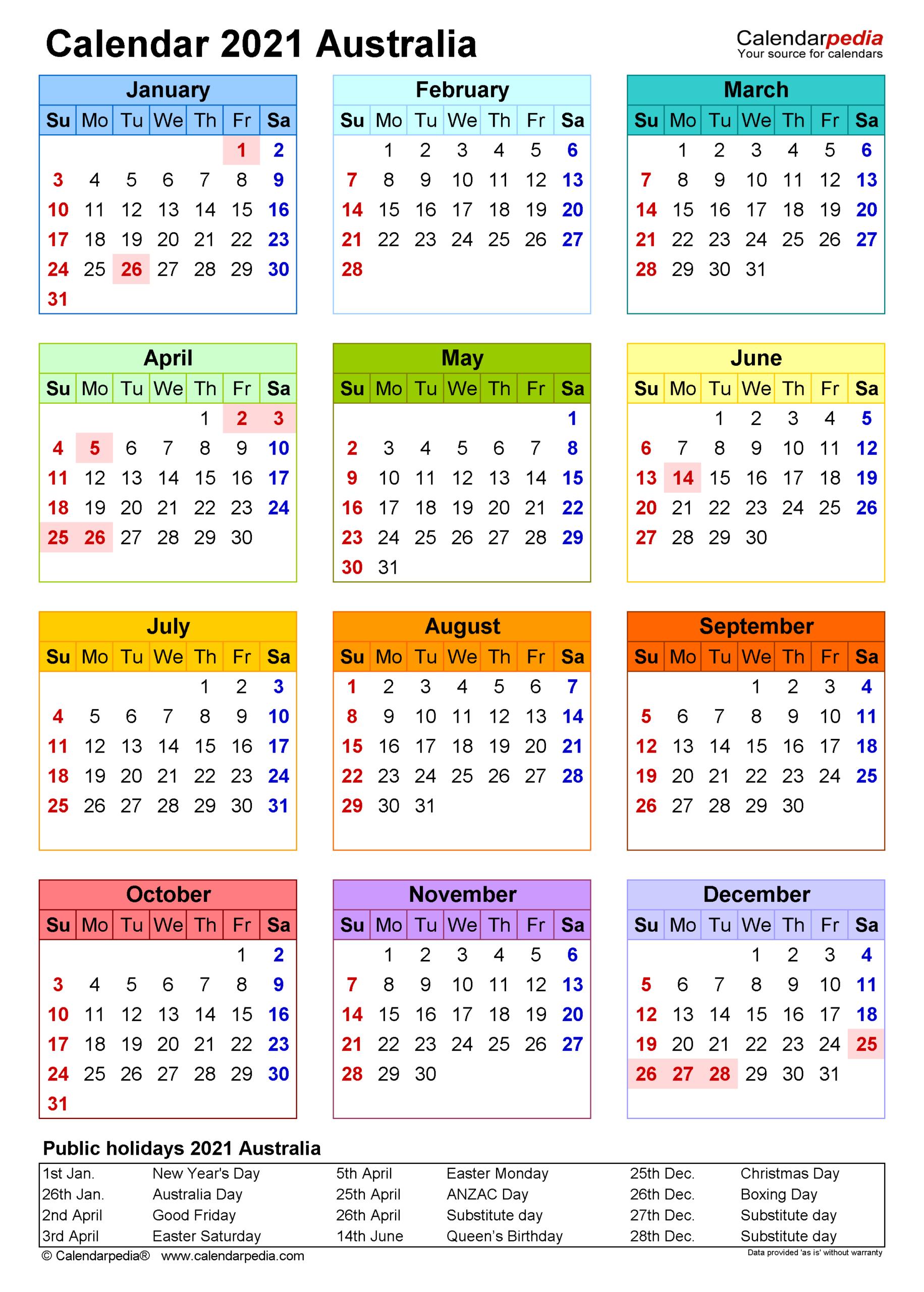 Australia Calendar 2021 - Free Printable Pdf Templates