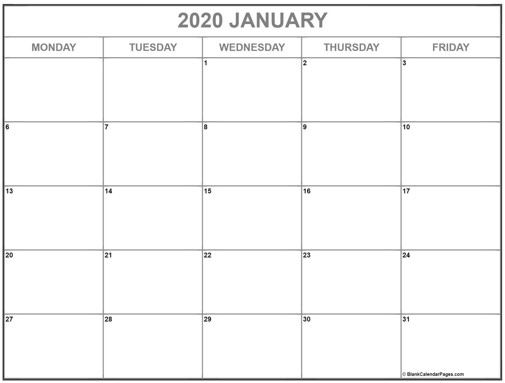 Best Monday Thru Friday Calendsr   Calendar Printables