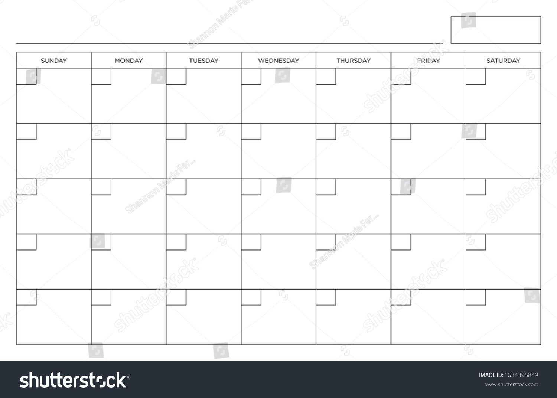 Blank Calendar Page Sunday Through Saturday Stock Vector