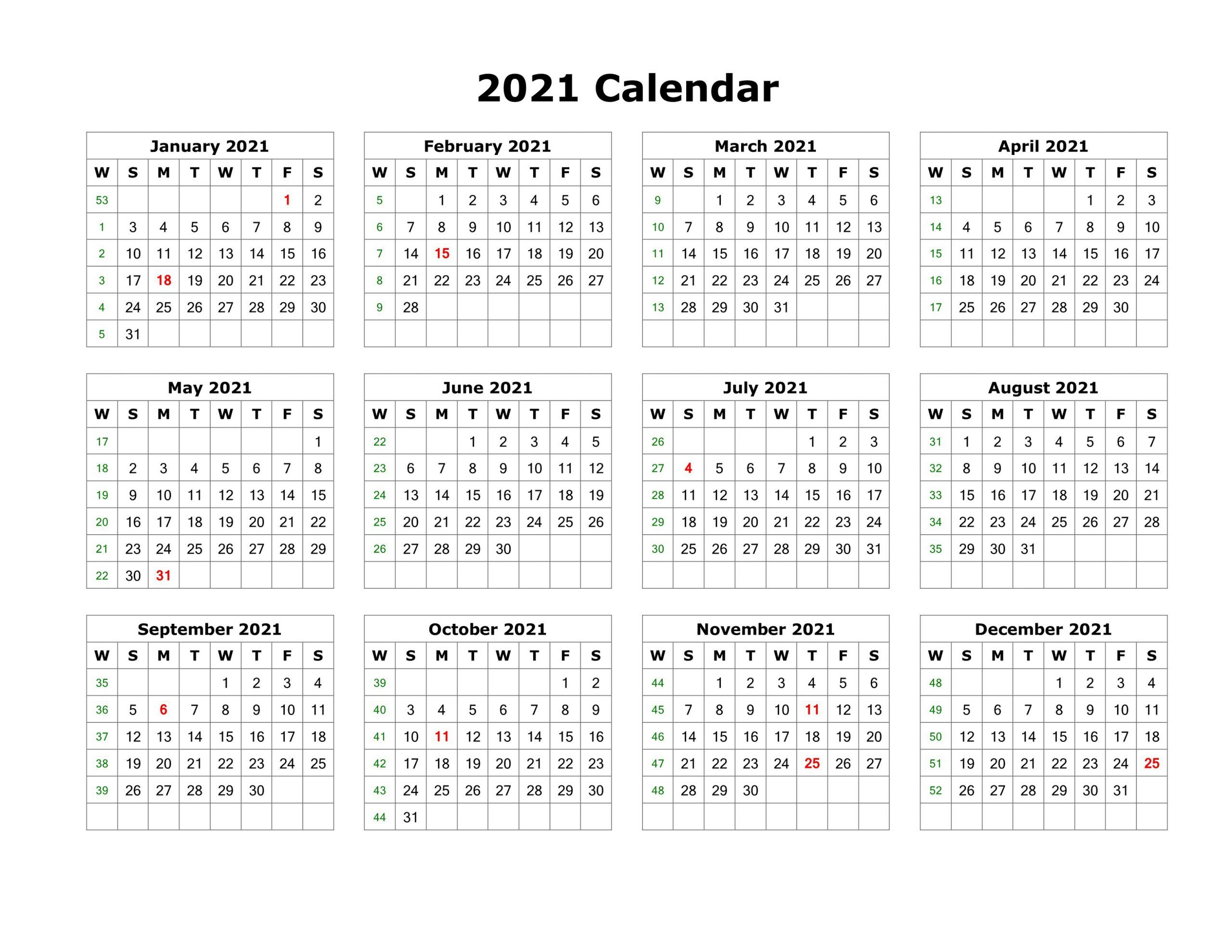 Blank Calendar Template Word 2021 Various Months | Yearly