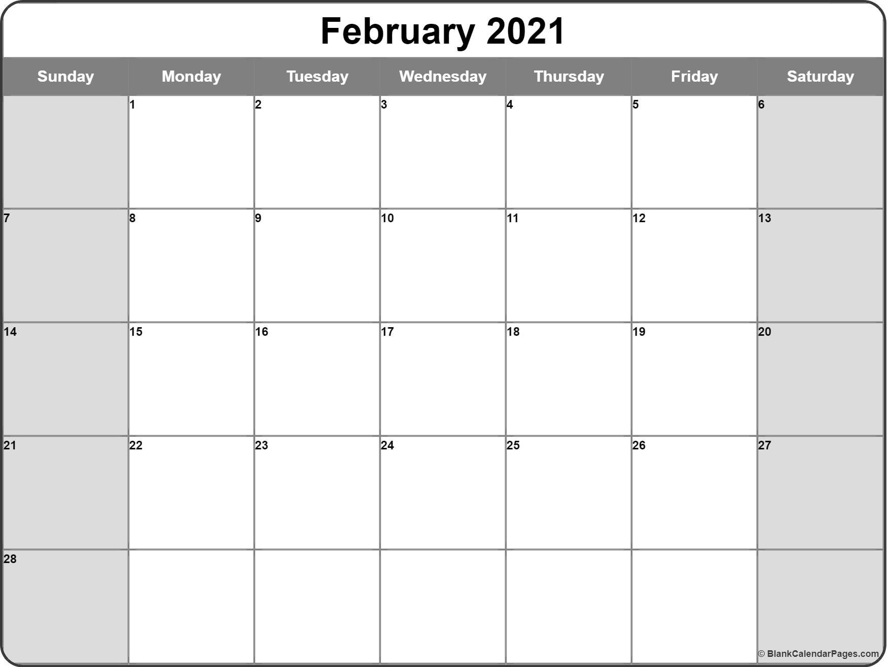 Blank February 2021 Calendar Page | Monthly Calendar