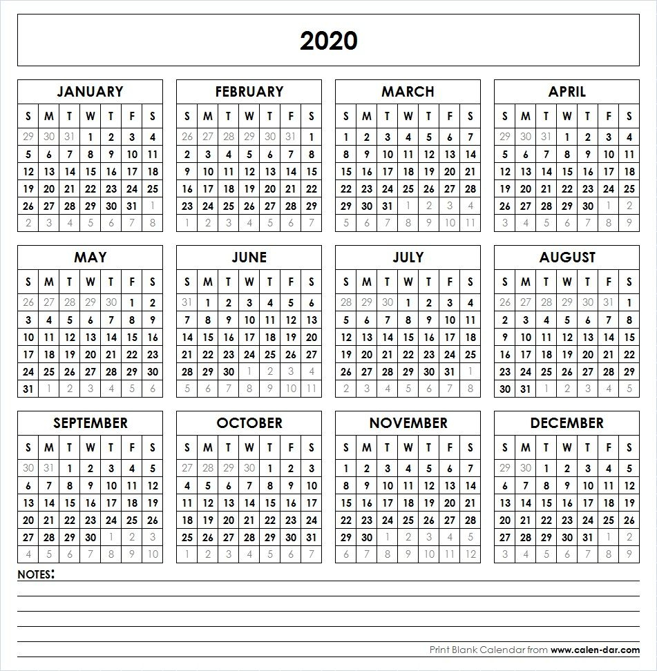 Blank Template For Printable Calendar 2020 With Notes