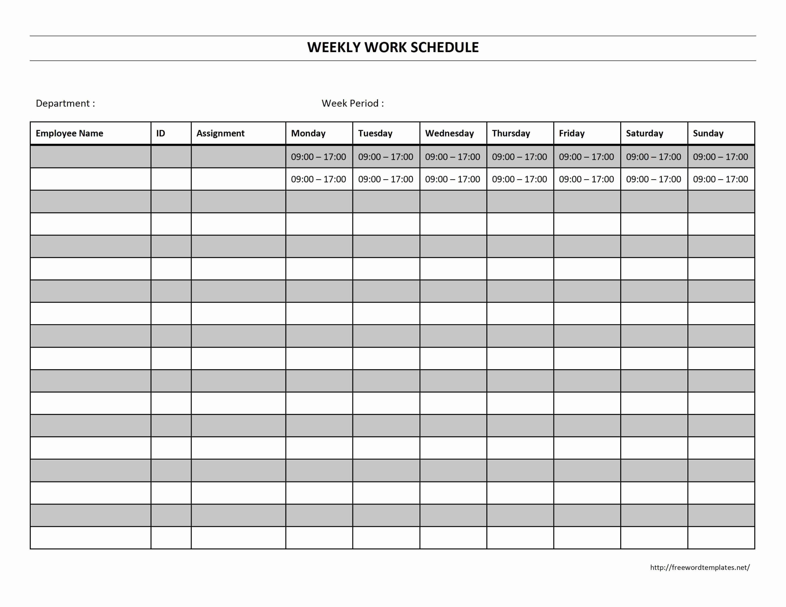 Blank Work Schedule Template Inspirational 6 Best Of Free