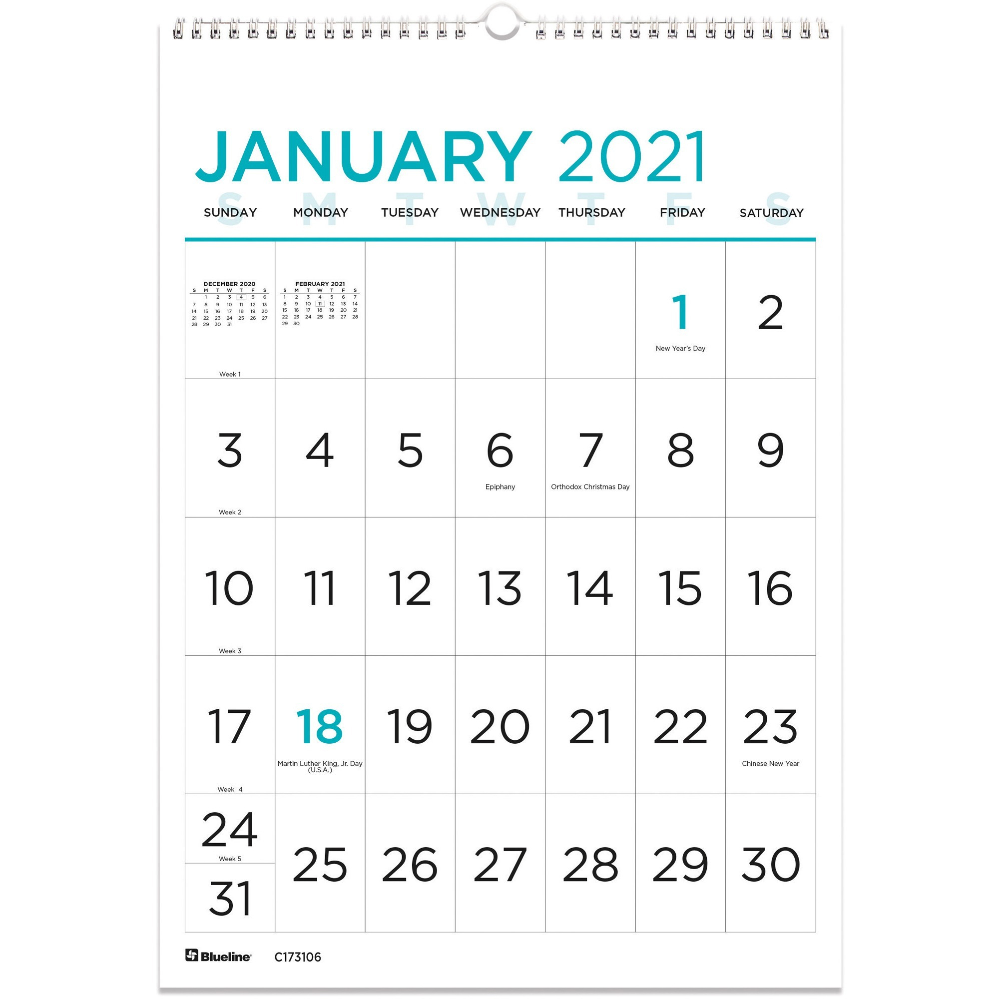 Blueline Large Print Wall Calendar - Monthly - 1 Year