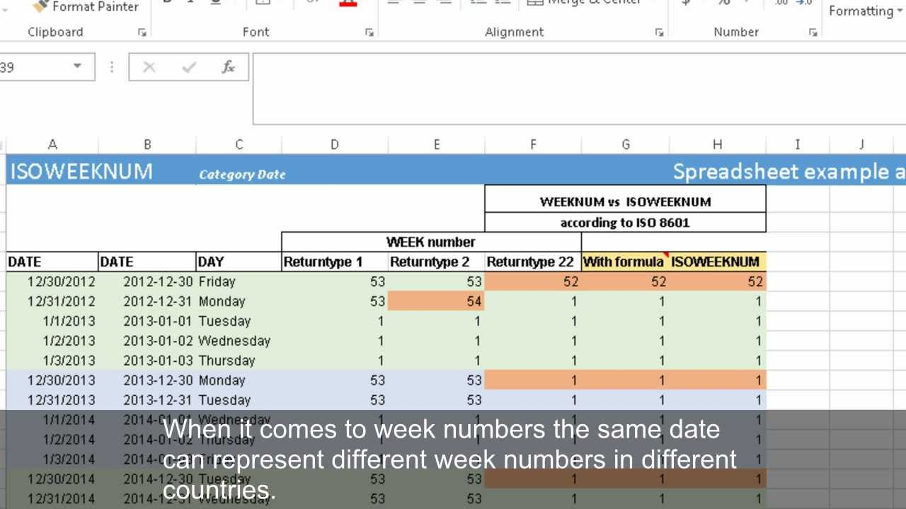 Calculating Week Numbers With Weeknum And Isoweeknum (Excel 2013)