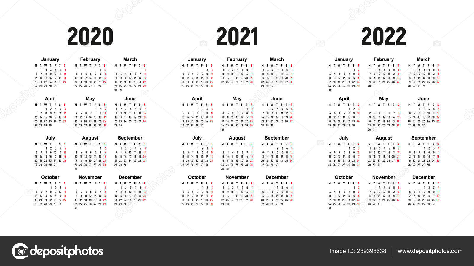 Calendar 2020, 2021 And 2022, Week Starts On Monday, Basic Business  Template. Vector Illustration 289398638