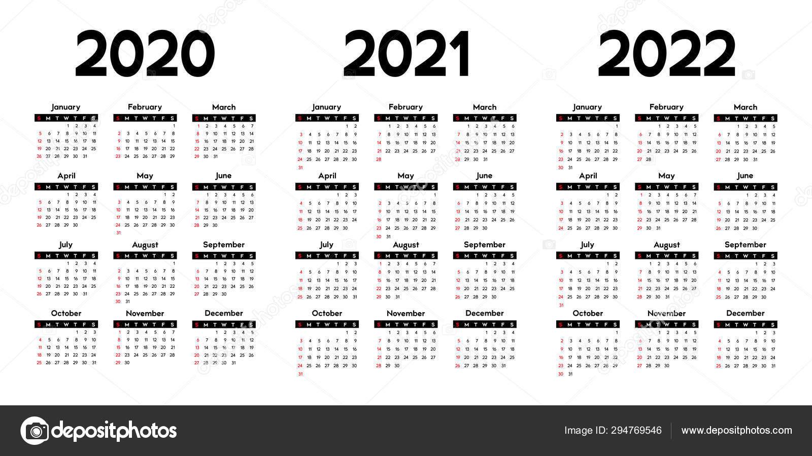 Calendar 2020, 2021 And 2022, Week Starts On Sunday, Basic Business  Template. Vector Illustration 294769546