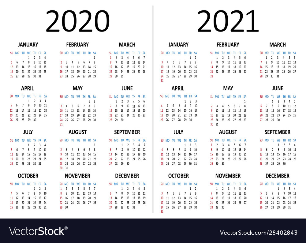 Calendar 2020 2021 Week Starts From Sunday Vector Image