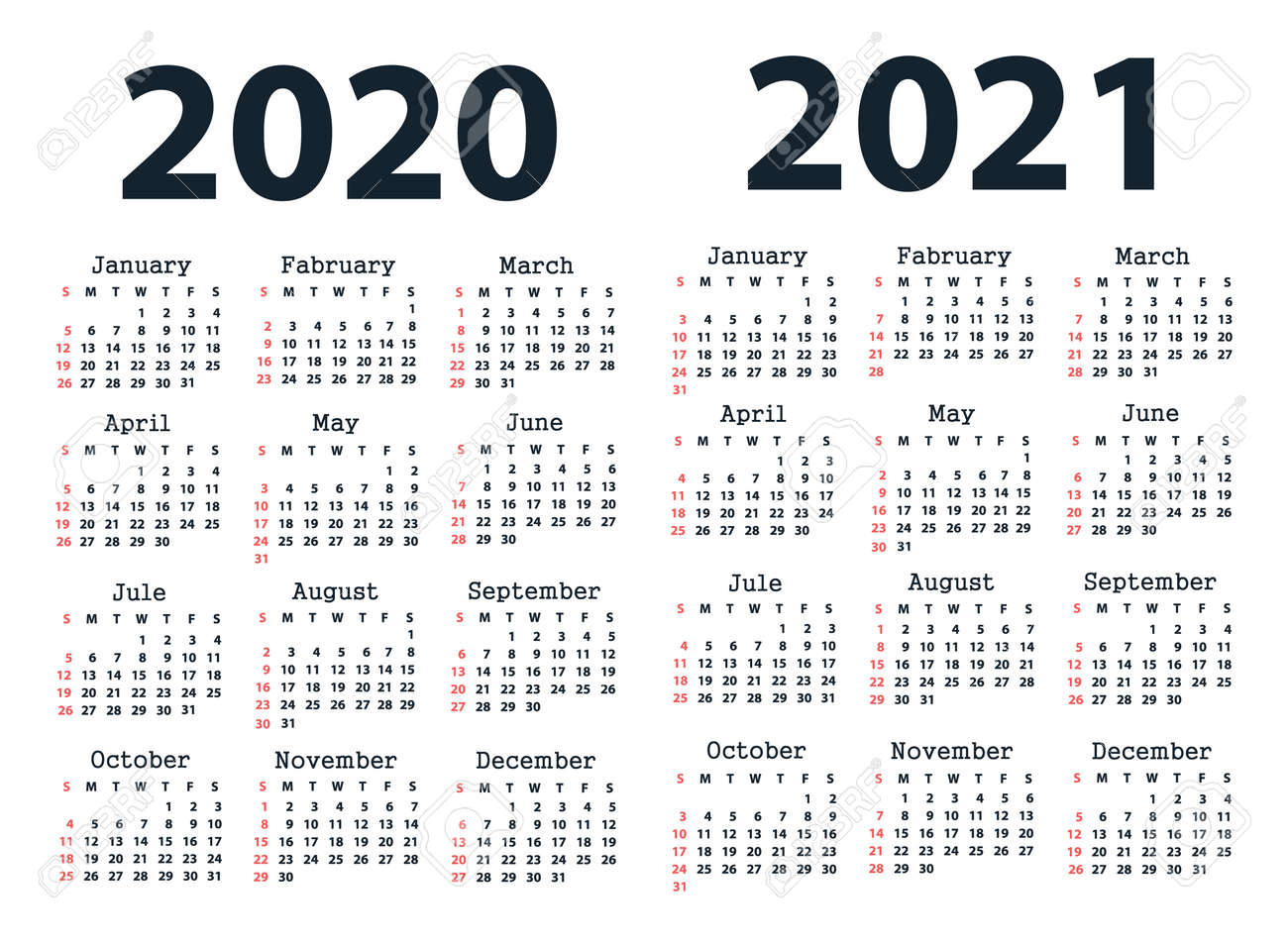 Calendar 2020 And Calendar 2021 Starting From Sunday. Vector