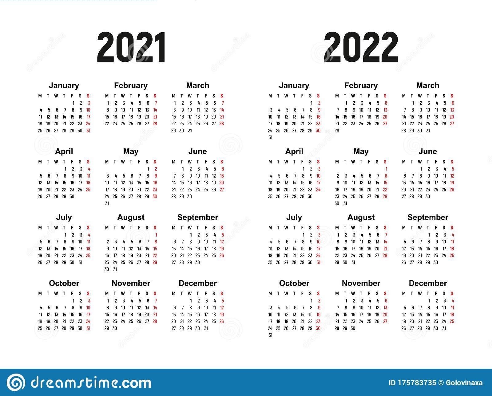 Calendar 2021 And 2022, Week Starts On Monday, Basic