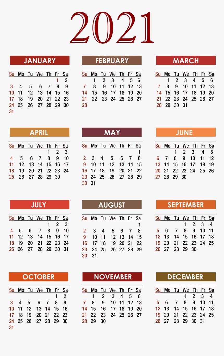 Calendar 2021 Png Free Download - Free Printable 2020
