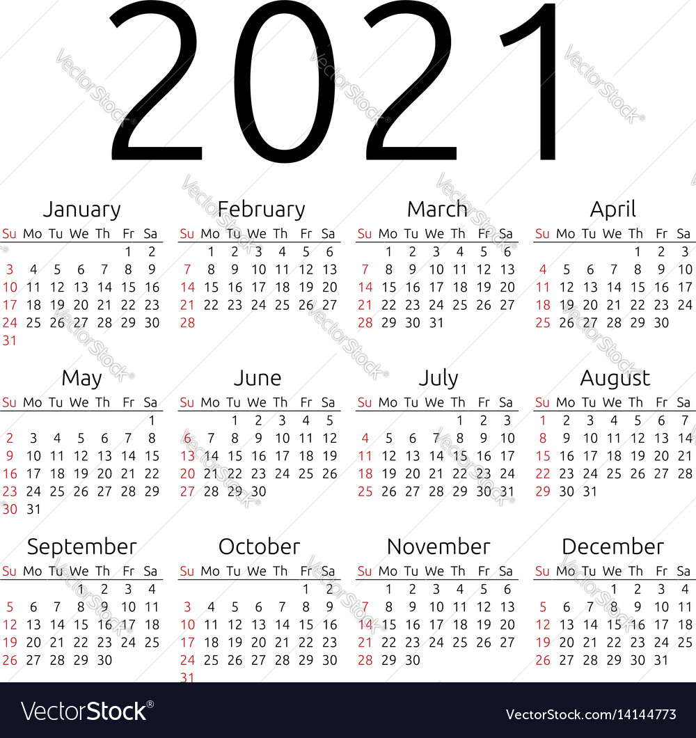 Calendar 2021 Sunday Royalty Free Vector Image