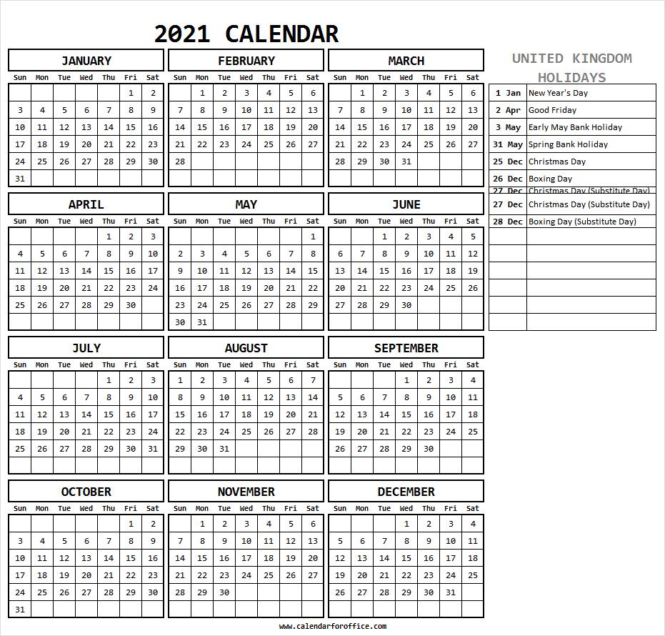 Calendar 2021 With Holidays Uk - Free Printable Calendar 2021