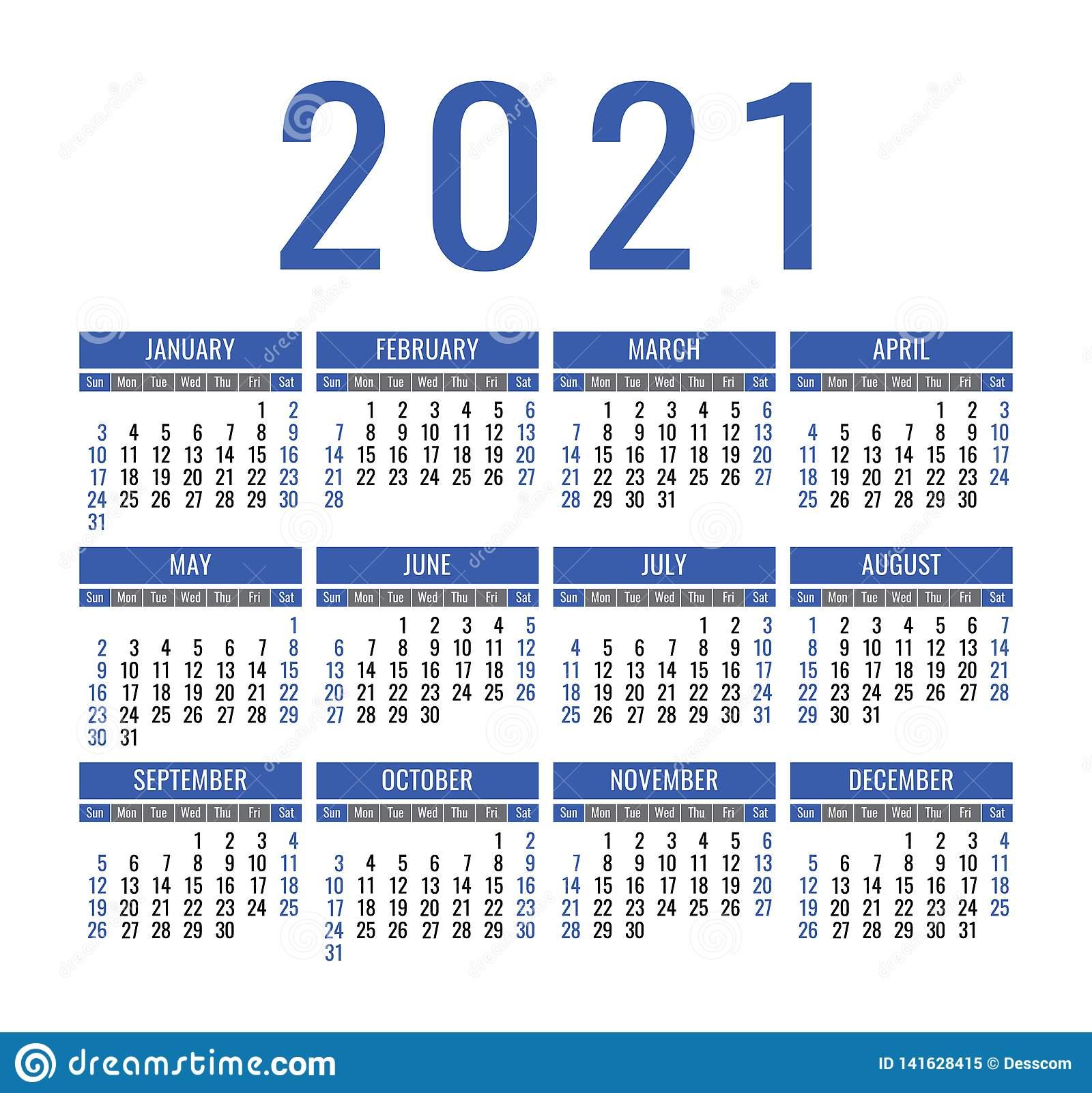 Calendar 2021 Year. Vector Pocket Or Wall Calender Template