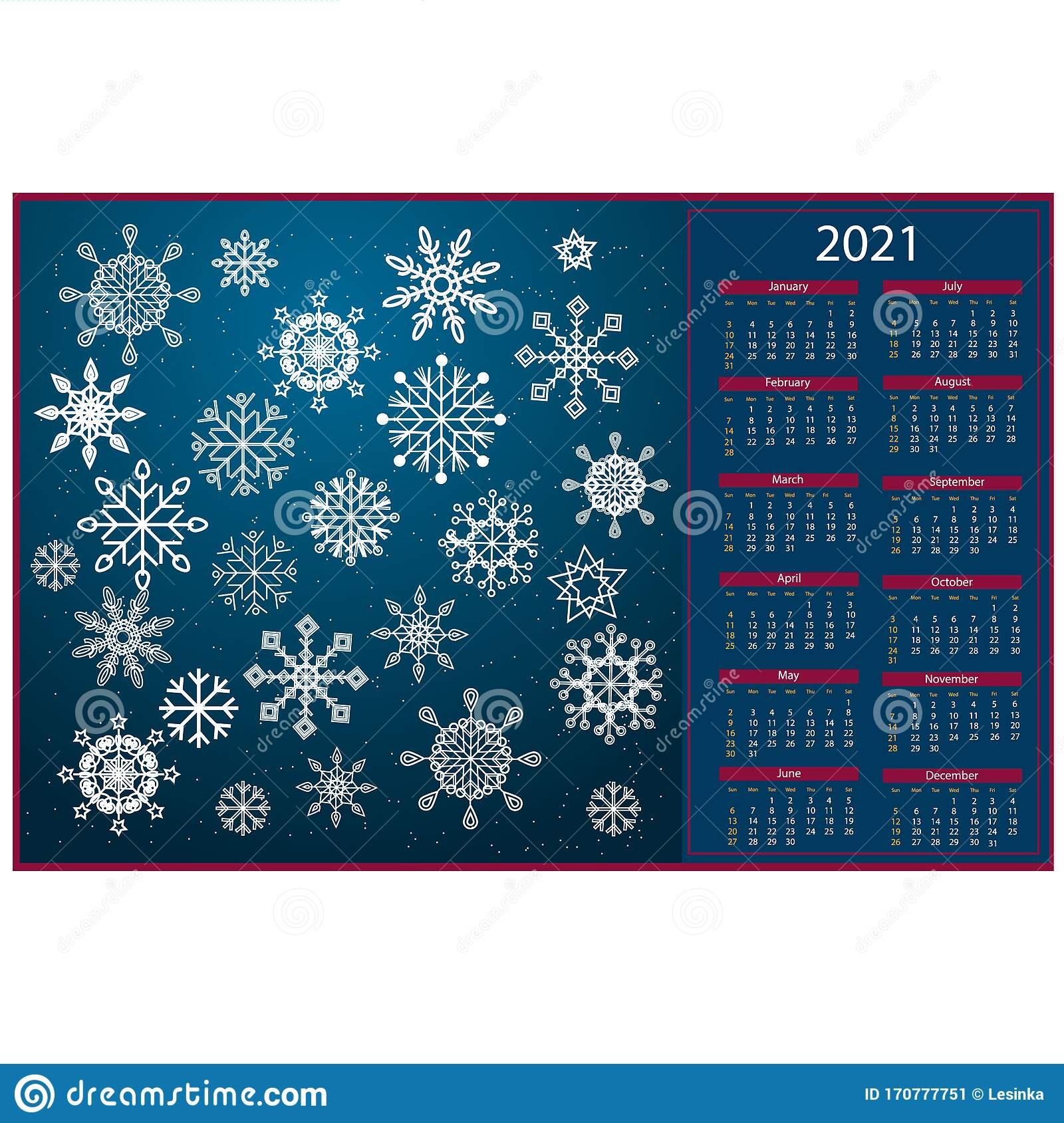 Calendar For 2021 Snowflakes Background Blue Stock Vector