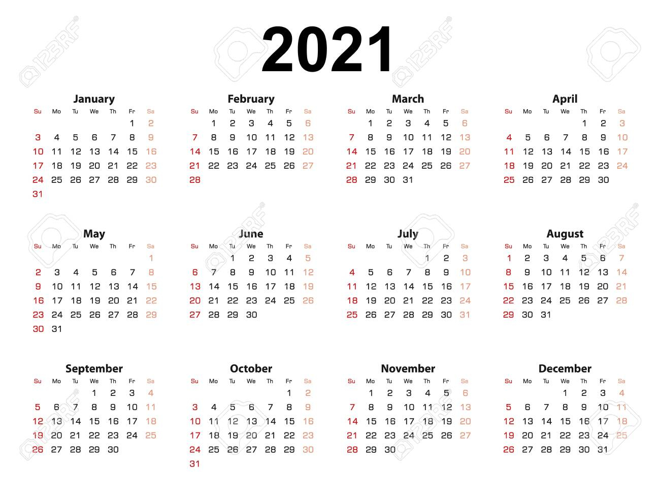 Calendar Layout For 2021 Year, Week Starts From Sunday. Simple..