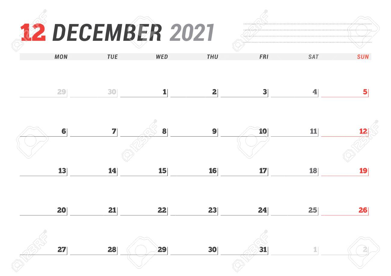 Calendar Page For December 2021. Monthly Planner. Stationery Design. Week  Starts On Monday. Vector Illustration