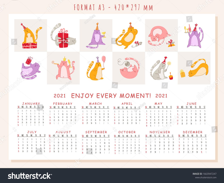 Cats Birthday Party Calendar 2021 Funny Stock Vector