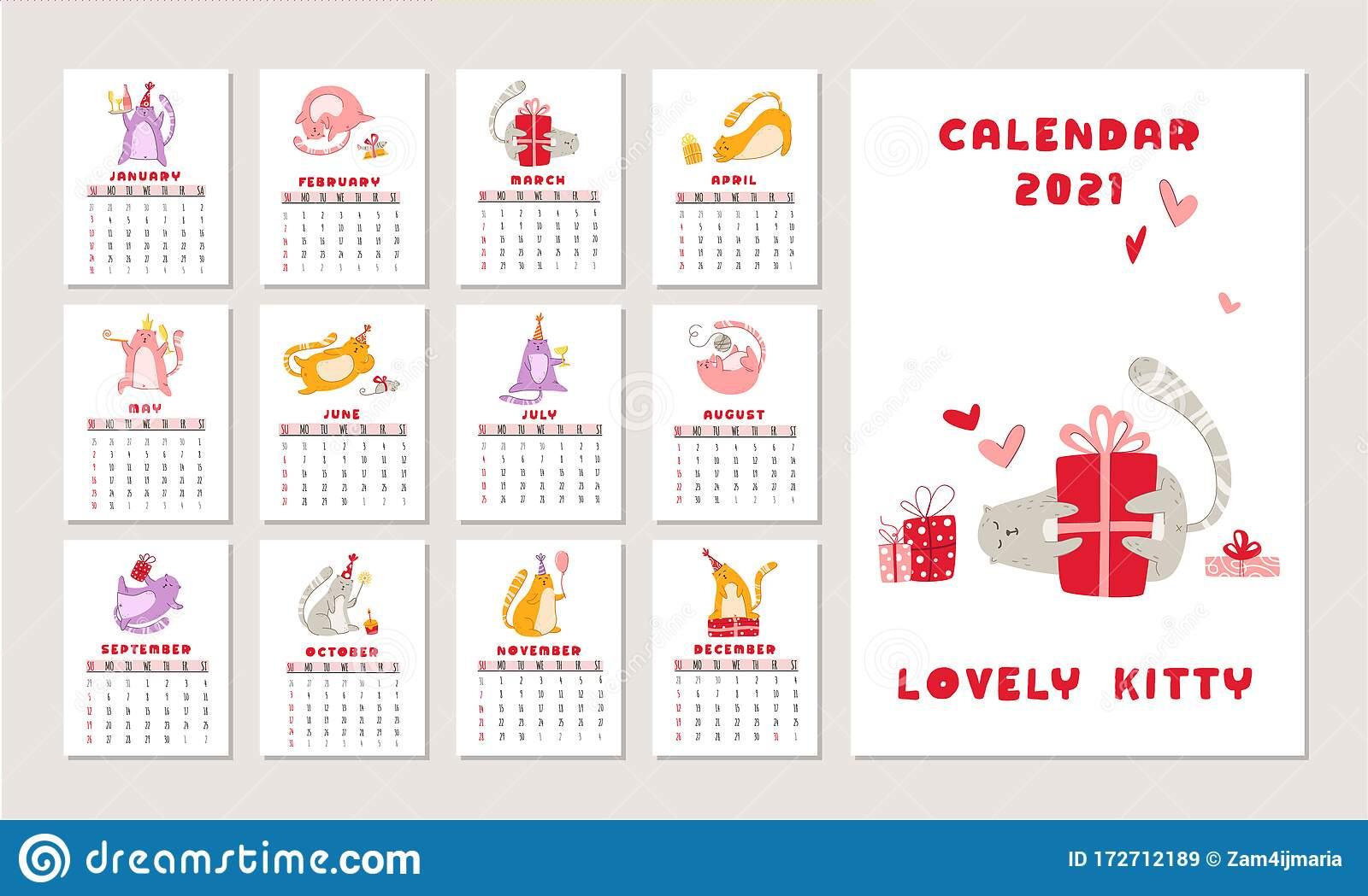Cats Birthday Party Calendar - Vector Stock Vector