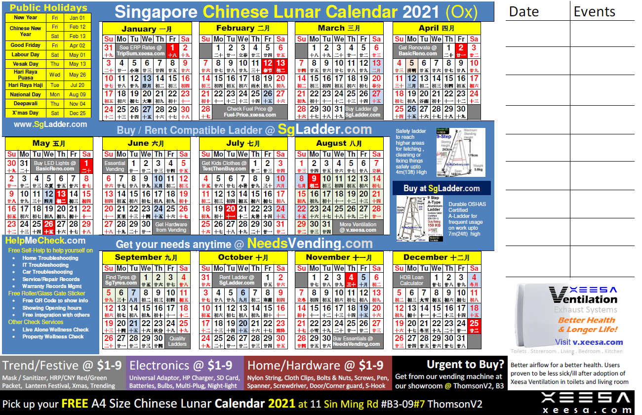 Chinese Calendar 2021 Singapore By Xeesa Services