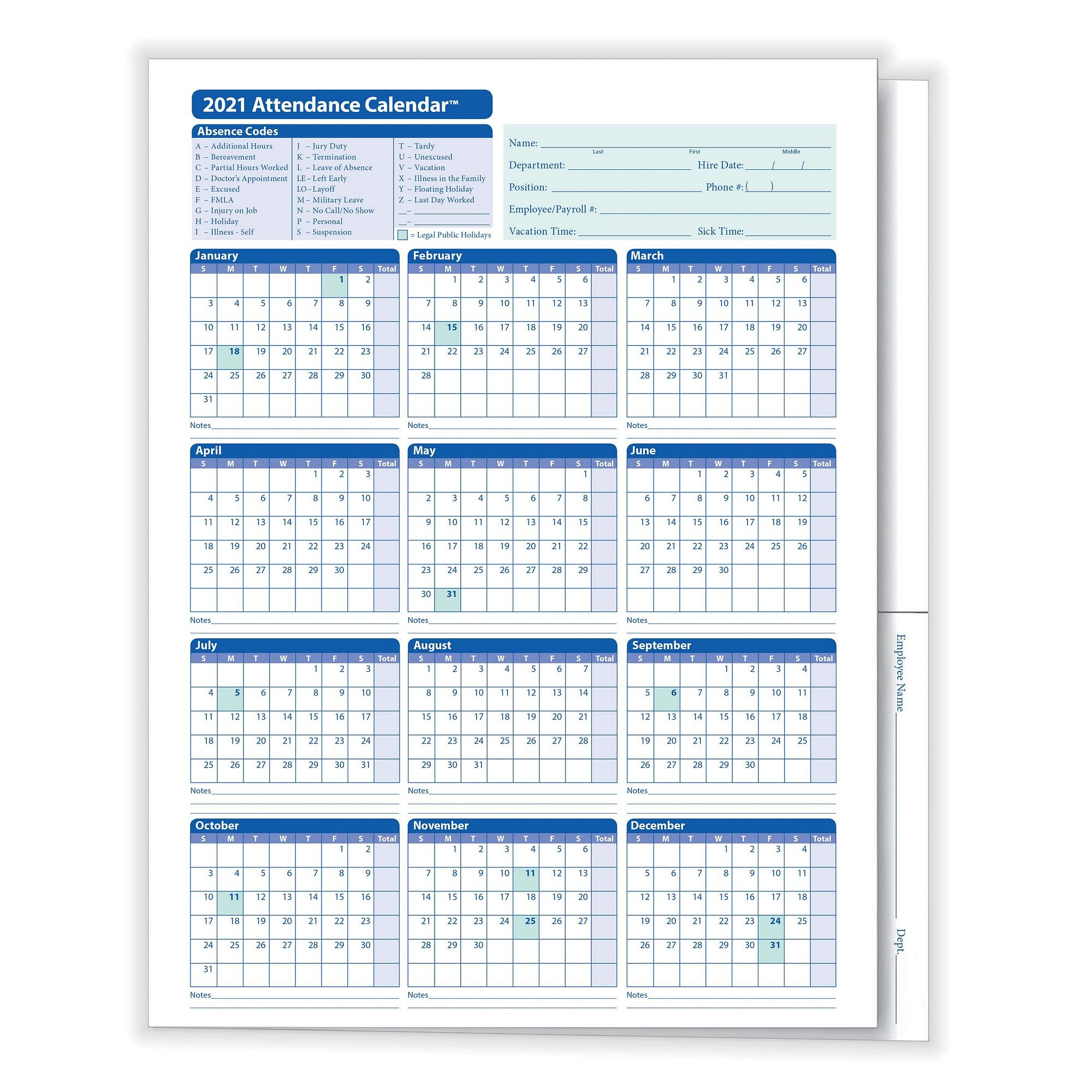 Complyright 2021 Attendance Calendar Folder, White, Pack Of 25