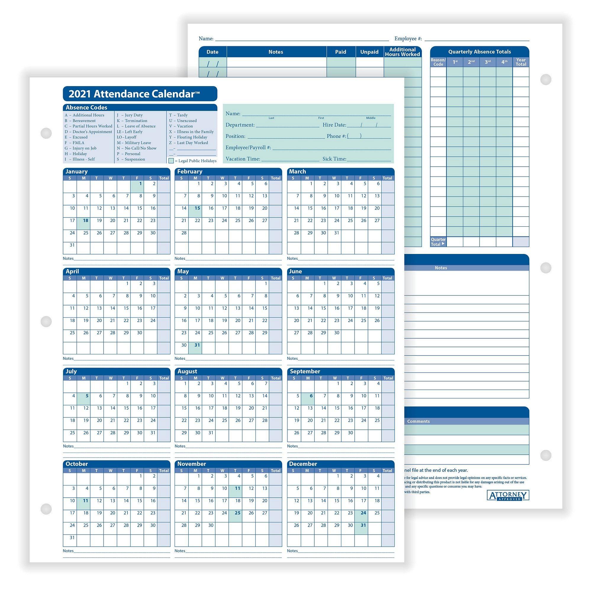 "Complyright 2021 Attendance Calendar, White, 8-1/2"" X 11"