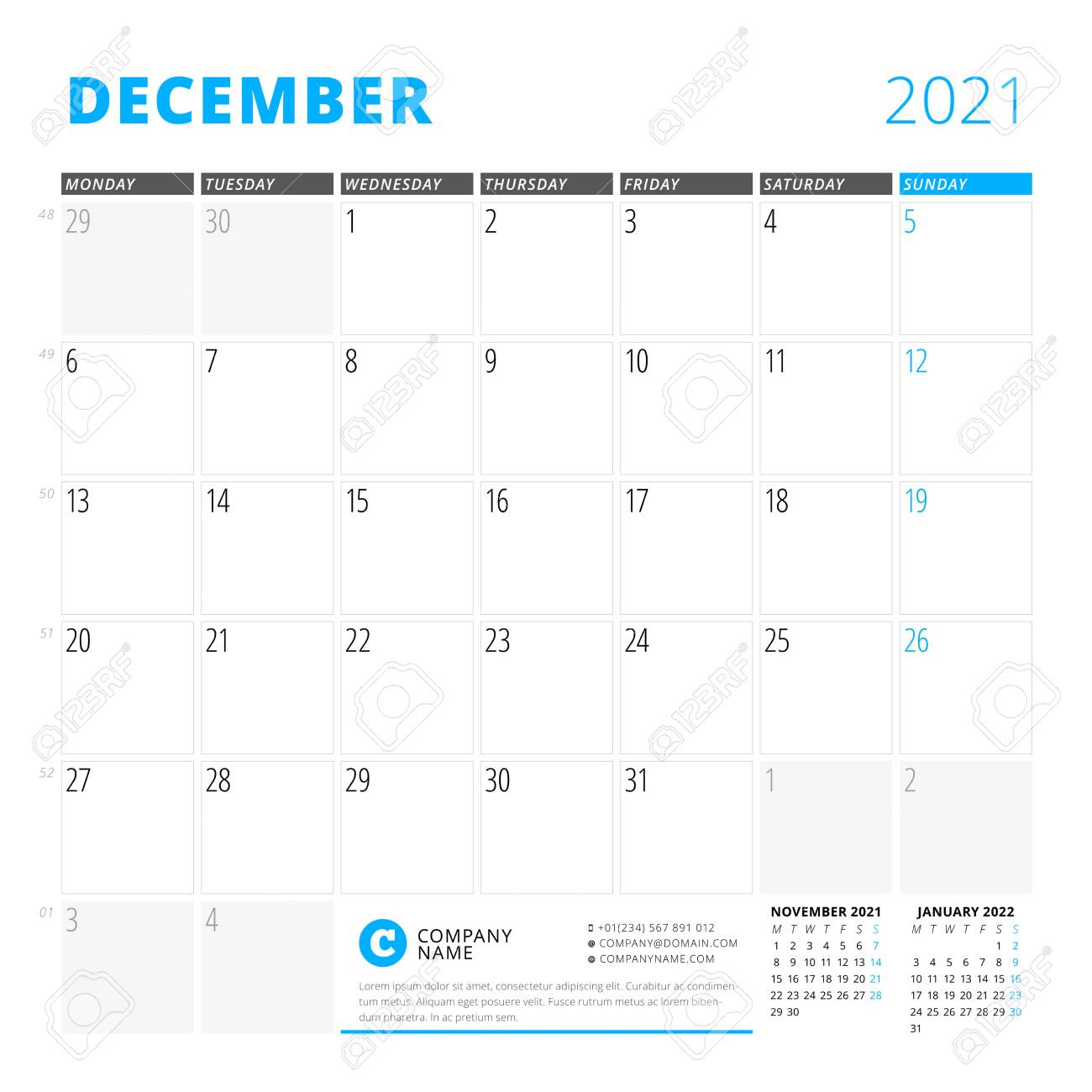 Corporate Design Planner Template For December 2021. Monthly Planner.  Stationery Design. Week Starts On Monday. Vector Illustration