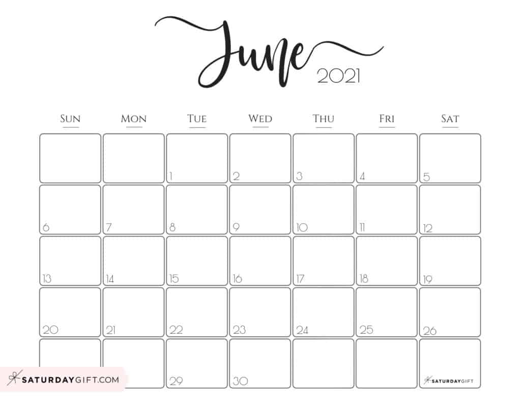 Cute (& Free!) Printable June 2021 Calendar   Saturdaygift