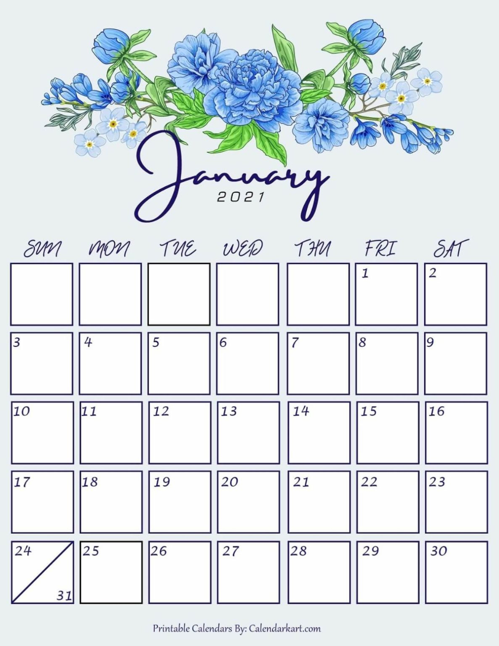 Cute January 2021 Floral Calendar | Printable Calendar