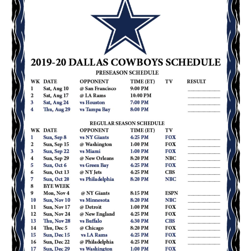 Dallas Cowboys Printable Schedule 2020 2020 | Dallas Cowboys