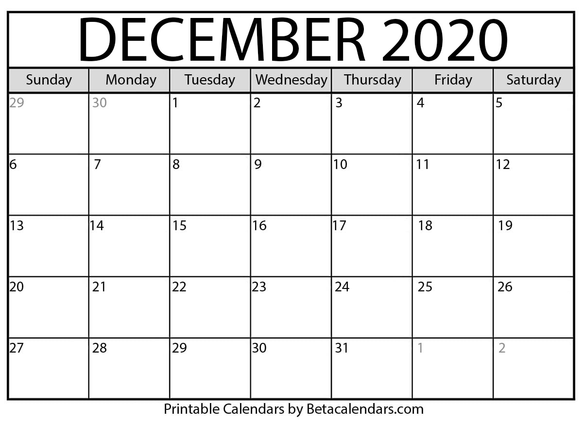 December 2020 Calendar | Blank Printable Monthly Calendars
