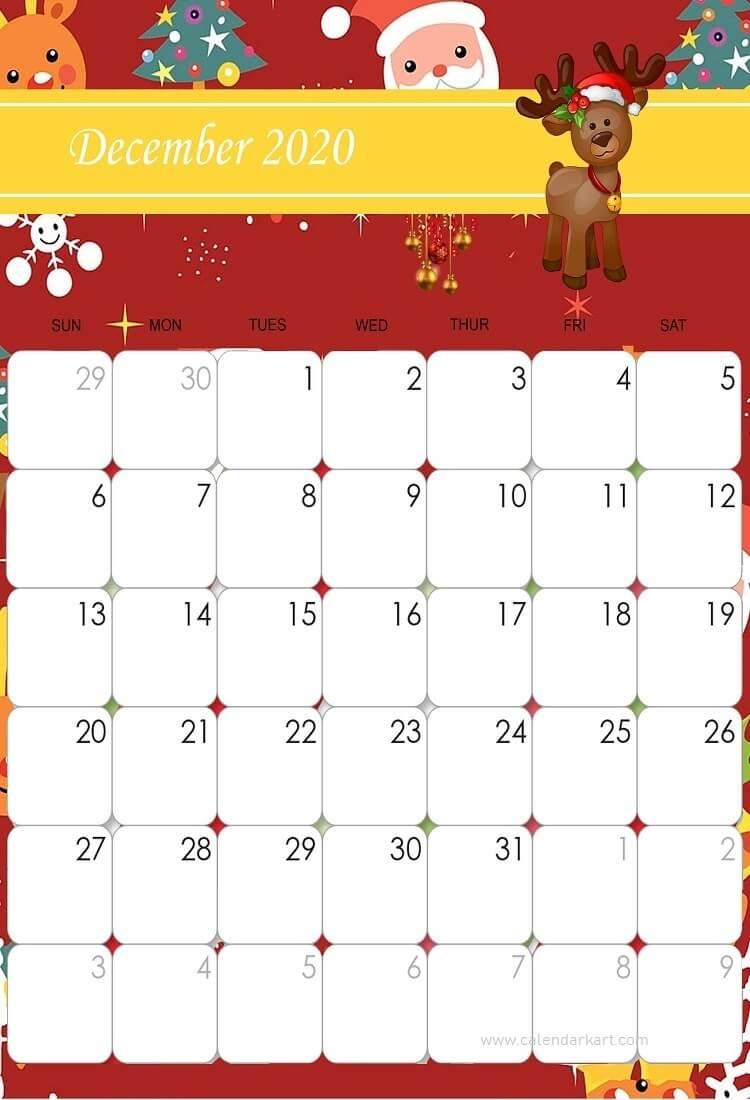December 2020 Calendar: Christmas Theme | Cute Calendar
