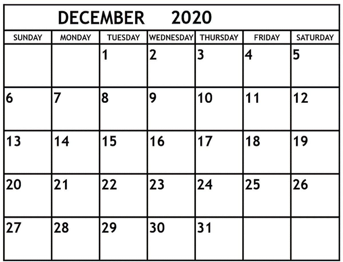 December 2020 Calendar December 2020 Printable Monthly