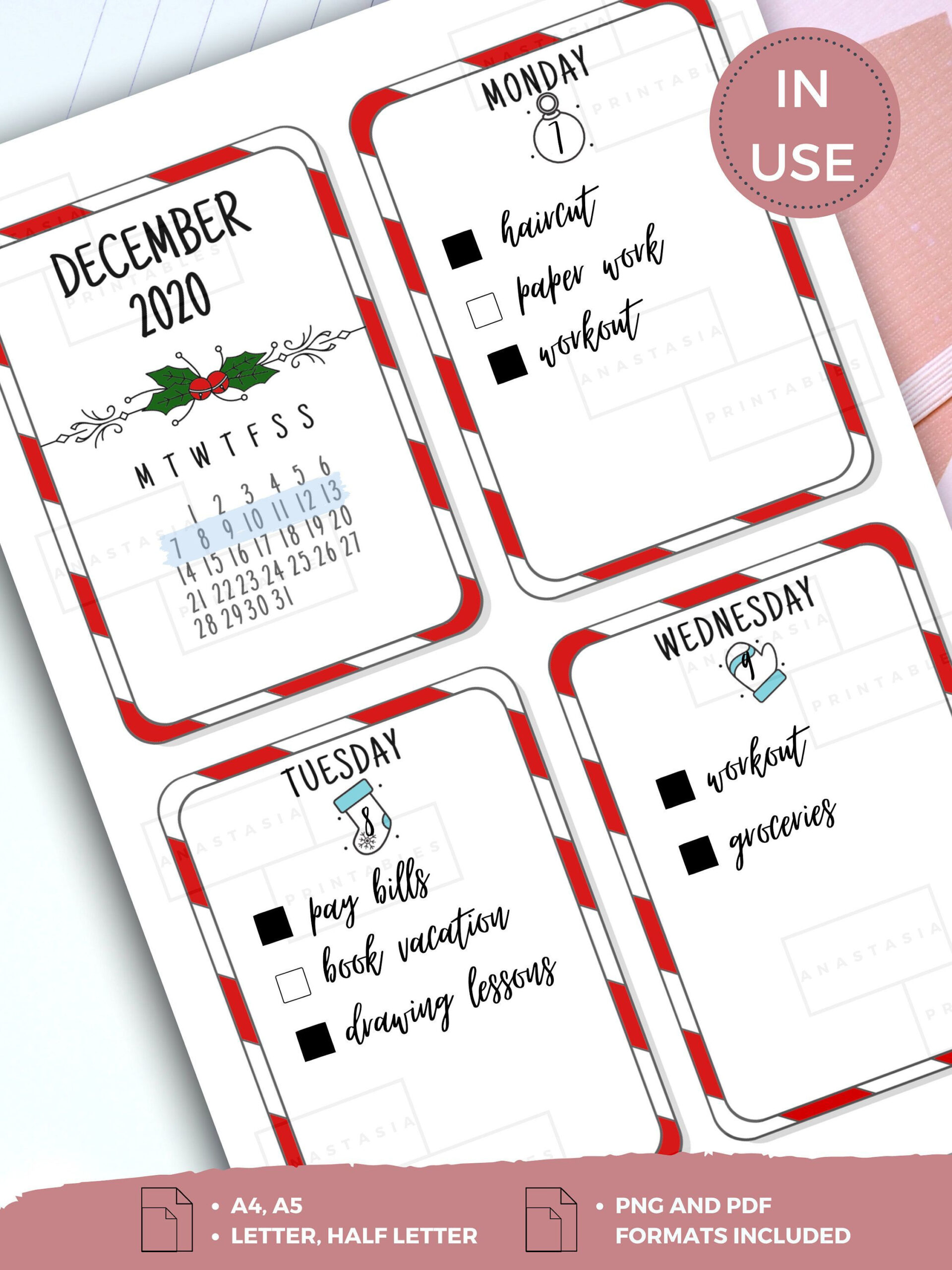 December 2020 Planner Printable Bundle Monthly & Weekly