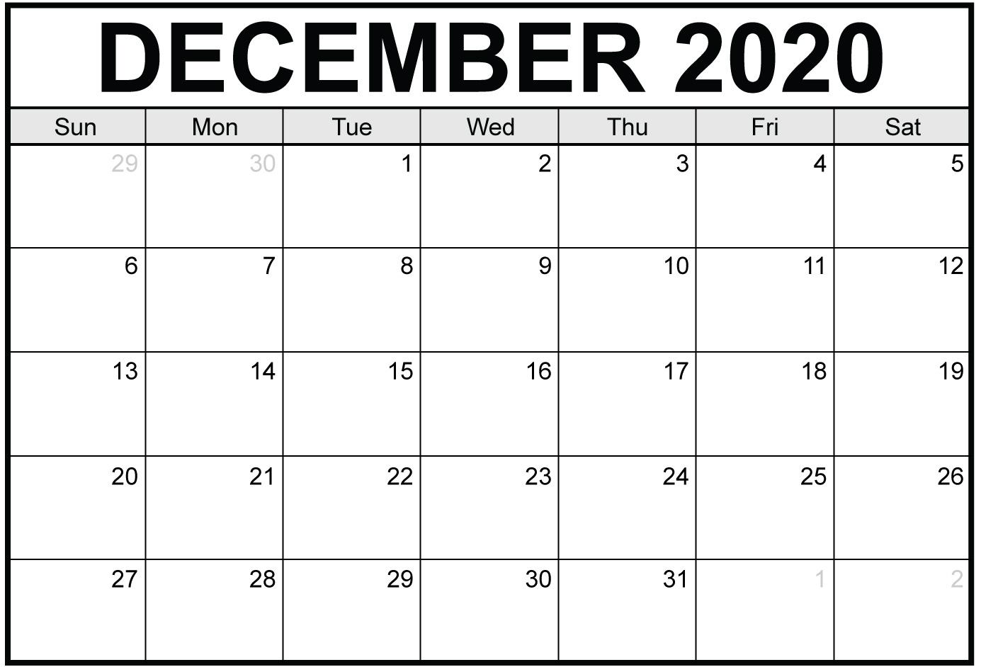 December 2020 Printable Calendar Free With Holidays