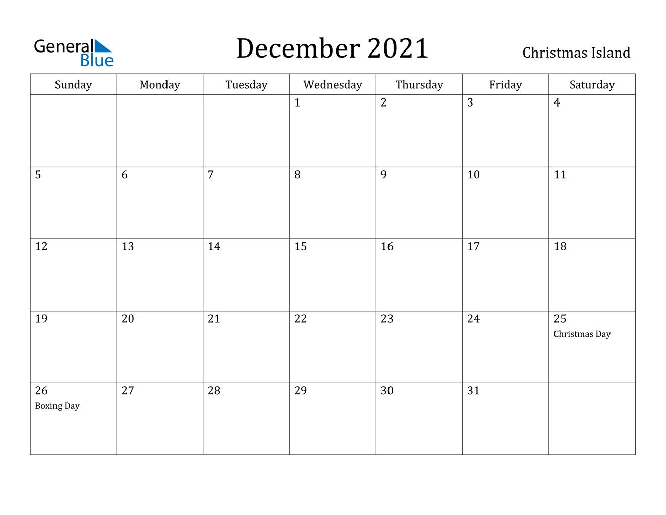 December 2021 Calendar - Christmas Island