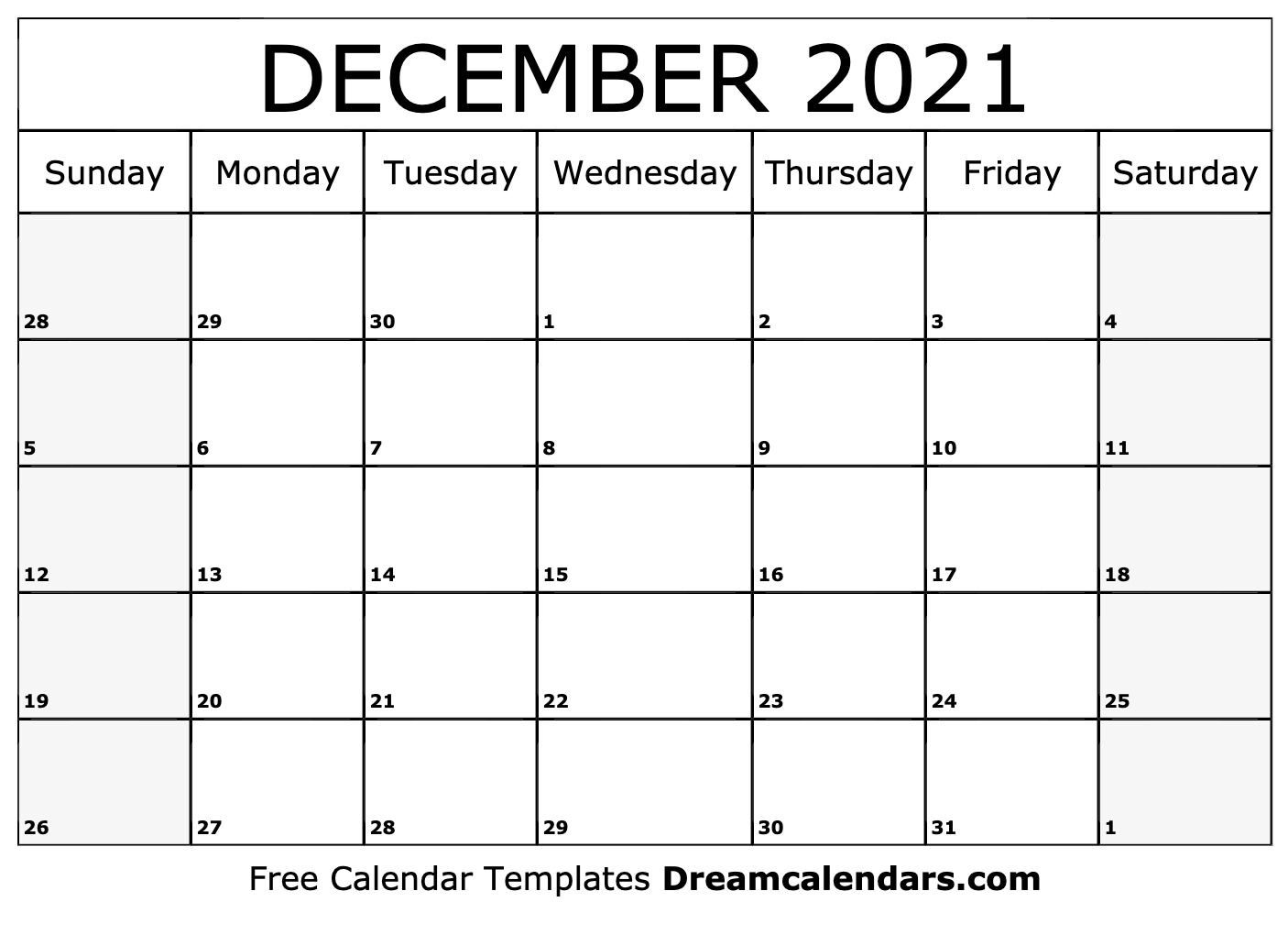 December 2021 Calendar | Free Blank Printable Templates