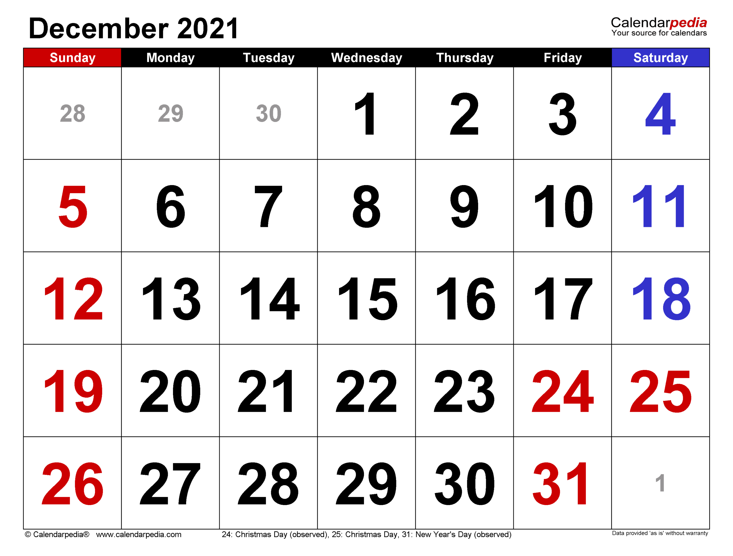 December 2021 Calendar | Templates For Word, Excel And Pdf