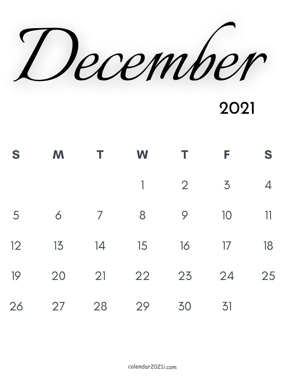 December 2021 Calligraphy Calendar Free Download
