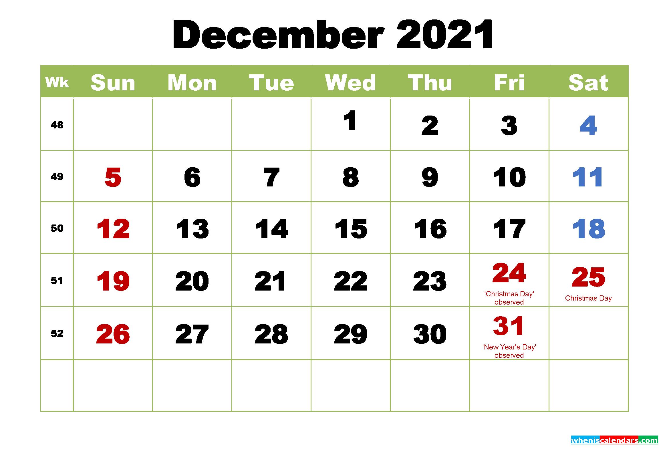 December 2021 Desktop Calendar With Holidays