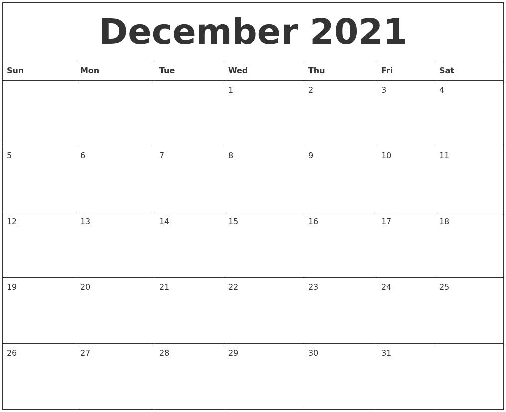 December 2021 Printable Calendar Free